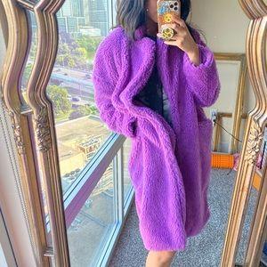 Fashion Nova Furry Purple Fuzzy Trench Coat Small